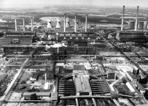 Kombinat Schwarze Pumpe um 1980: Im Vordergrund die